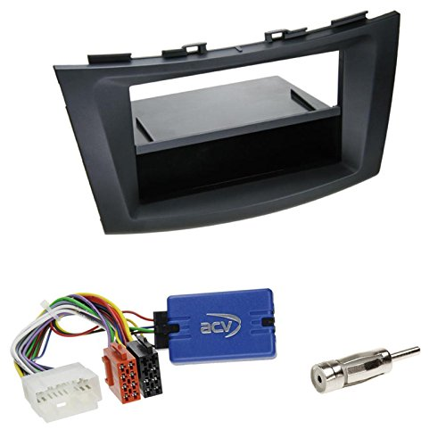 Einbauset: Suzuki Swift (FZ/NZ) ab 09/2010 2-DIN Radioblende mit Fach in schwarz + JVC Lenkradfernbedienungs Radio Adapter + Antennenadapter DIN