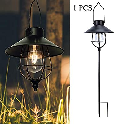 Hanging Solar Lights Outdoor Lanterns with Metal Stakes,Waterproof LED Edison Bulbs Solar Pathway Lights lamp for Garden Decor,Back (1 Pack)