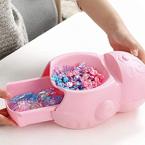 SKKGR Tischmilleimerl Badezimmer Küche Abfallbehälter Cartoon Bär Lazy Fruit Tray Kunststoffschublade Handyhalter Slot Double-Layer Fruit Tray Desktop Trash Can-Pink_