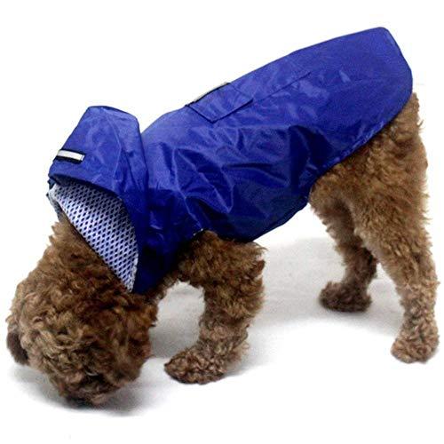Xinger hond regenjas reflecterende waterdichte kleding Hooded Jumpsuit voor kleine grote honden regen mantel Golden Retriever Labrador, blauw, S