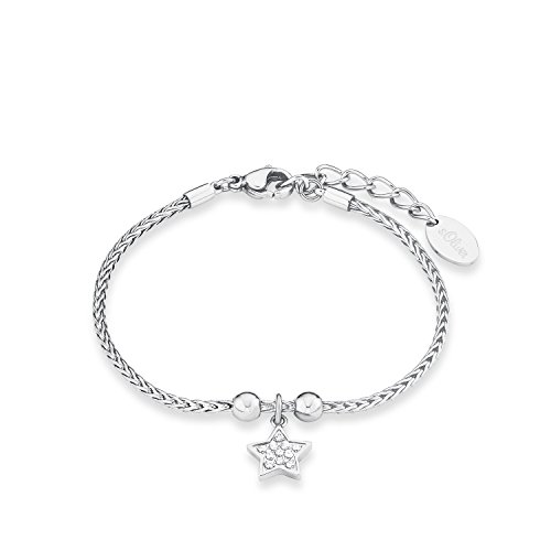 S.Oliver Damen Armband Zopfmuster mit Stern-Anhänger Edelstahl glänzend Zirkonia 17+3 cm weiß