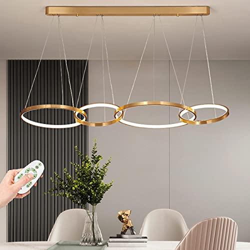 Candelabro Lámpara Colgante LED Luz De Sala De Estar Moderna Araña Control Remoto Regulable Luces Colgantes Diseño Redondo Plafón Acrílico De Metal Comedor Dormitorio Deco Luminaria Altura Ajustable