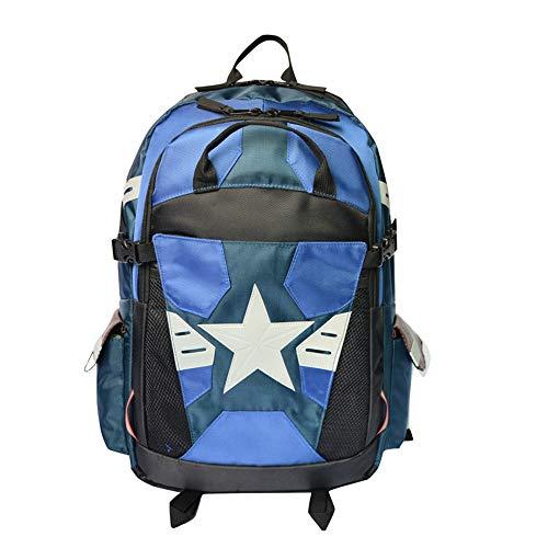 HAMIQI Mochila de Capitán América Mochila de estudiante de anime con bolsa de escuela de tira luminosa Bolsa de múltiples bolsillos