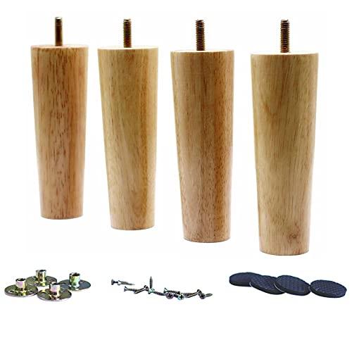 WEICHUAN - Juego de 4 patas de madera maciza de goma para sofá, silla, otomana, mesa de café