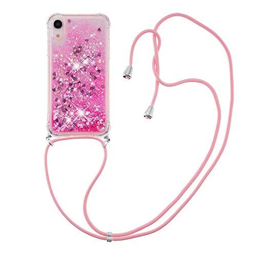 Carcasa líquida de silicona TPU antigolpes para iPhone XR(6.1inch) (rosa)