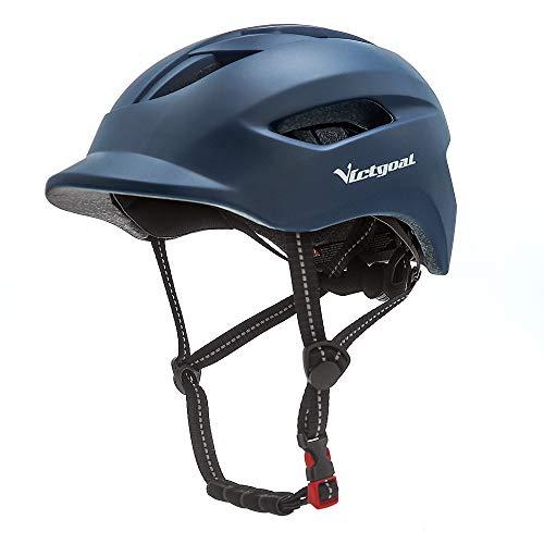 VICTGOAL Fahrradhelm für Herren Damen Städtischer Pendler mit LED Licht und Reflektierende Gurtbänder Erwachsene Fahrradhelm Mehr Sicherheit Leichter Stadt-Fahrradhelm (Navy)
