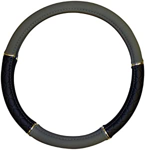 Sedona Leatherlook Steering Wheel Cover Grey Black 37-39cm