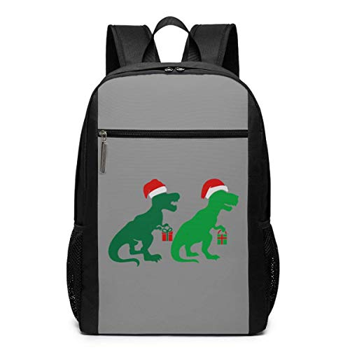 AOOEDM Christmas Green T Rex Mochila de Dinosaurio Mochilas de Negocios de 17 Pulgadas Bolsa de computadora Escolar