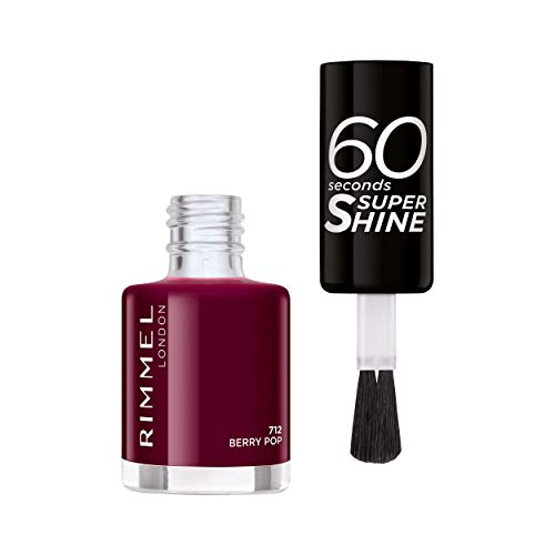 Rimmel - Vernis à Ongles 60 Seconds Super Shine Colour Block - Ultra Brillance et Longue Tenue - Séchage Rapide - 712 Berry Pop - 8ml