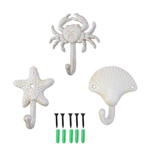 ZILucky Set of 3 Starfish Seashell Crab Cast Iron Decorative Wall Hooks Coats Aprons Hats Towels Hooks Beach Ocean Theme Chic Metal Hooks (White)