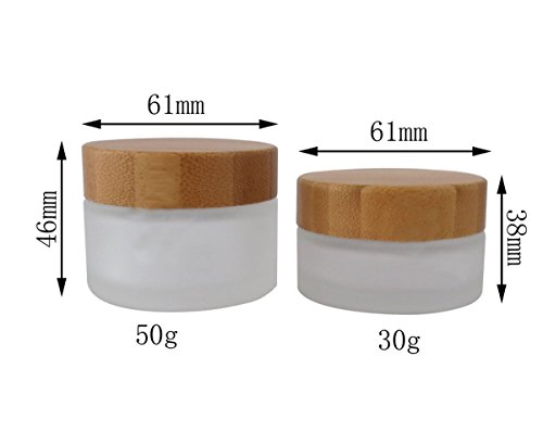 andimoyi l'environnement en Bambou Crème Bottle-Environmental Bambou Couvercle en Verre givré Bouteille Crème bocaux vides Cosmétique Comtainer 1 Pcs 30ml Blanc