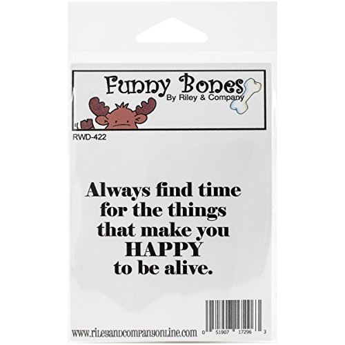 Riley & Compagnie Funny Bones en Caoutchouc Tampon étirable Taille X 3,8 cm, Happy to Be Alive