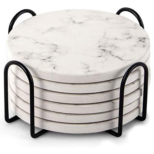 Liseng Saug FFhige - Sottobicchieri con supporto, set da 6 pezzi, in stile marmo, 4 pollici