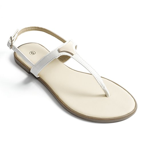 Soles & Souls Fashion Triangle Metal Flat Sandals for Women White 07