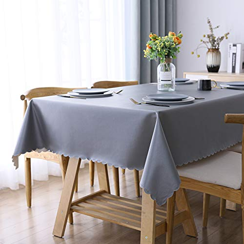 "smiry Heavy Duty Vinyl Tablecloth, Waterproof and Oil-Proof Solid Color Wipeable Table Cloth, Washable Table Cover for Indoor and Outdoor Use(60"" X 84"",Gray)"