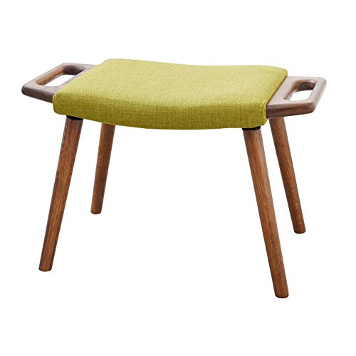 Vanity Stool, Shoe changing stool, Footstool, Dressing stool, Modern Makeup Dressing Stool with Concave Seat Surface, Padded Bench with Rubberwood Legs ( Color : Walnut [with grass green cushion] )