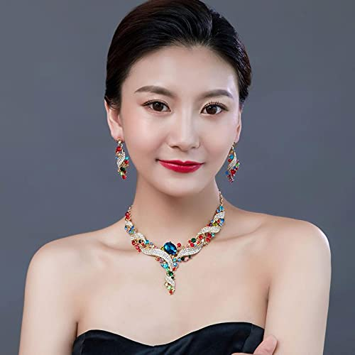 YZYZ Juego de collar europeo y pendientes de cristal multicolor para mujer