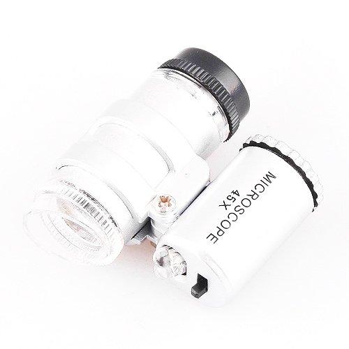 Mini 45x Adjustable Focus Microscope Magnifier w/ 2 Led Light Coin Grading Loupe +Bag