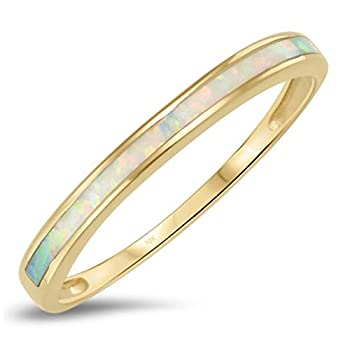 10k Solid Yellow Gold White Opal Inlay Band Ring Size 7