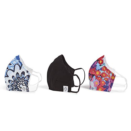 Vera Bradley unisex adult 3-pack Double-layer Cotton Face With Filter Pocket Mask, Black/Impressionista/Blue Star Medallion, One Size US