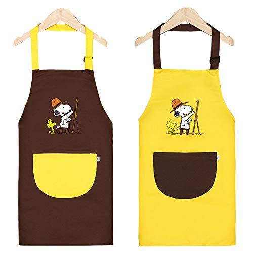 Infantil Delantal con Bolsillos, 2PCS Delantal Ajustable para Niñas/Niños, Pintura Impermeable Delantales de Niño, Niños Delantales de Cocina para Cocinar Hornear Pintar Artesanía (6-9 Años)