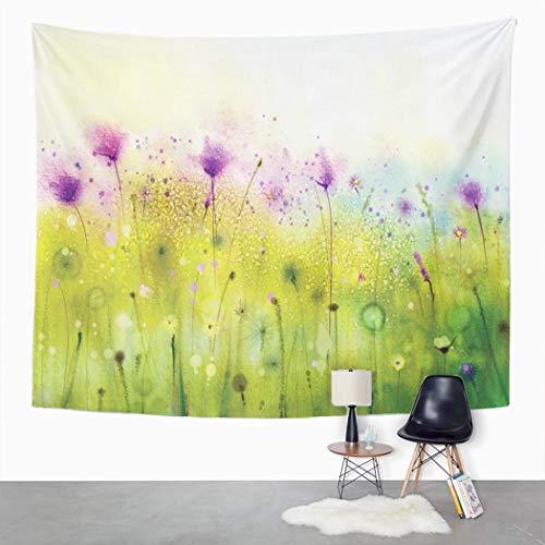 Y·JIANG Tapiz púrpura Cosmos Flora Acuarela para el dormitorio del hogar, tapiz grande decorativo de pared, manta ancha para colgar en la sala de estar, dormitorio, 80 x 60 pulgadas