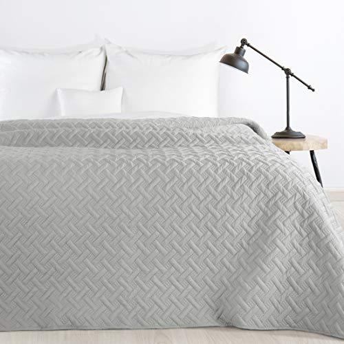 Design91 Tagesdecke Alara Gesteppter Bettüberwurf Einfarbig Steppung 3D Geometrisches Muster Ganzjährig (Silber, 220 x 240 cm)