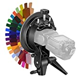 Neewer S-Type Bracket Holder with Bowens Mount, 20 Pieces 2.5x5.5 inches Flash Color Gel Lighting Filter Kit for Canon Nikon Nissin Olympus Panasonic Pentax Speedlite Flash Softbox Beauty Dish