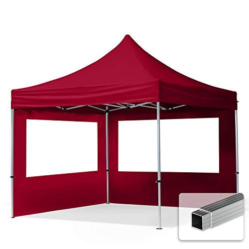 TOOLPORT Faltpavillon Faltzelt 3x3m - 2 Seitenteile ALU Pavillon Partyzelt rot Dach 100% WASSERDICHT
