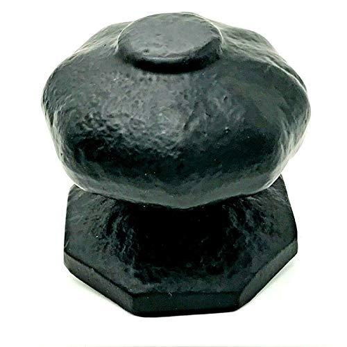 1 pomo central para puerta de 66 mm, hierro fundido maleable, color negro envejecido.