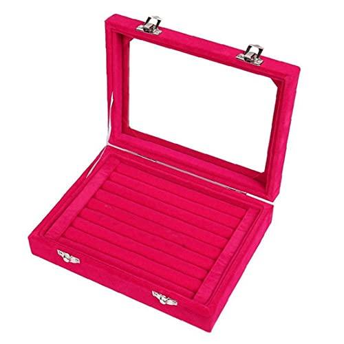 finebrand Anillos De La Joyería Caja Caja De Almacenamiento De Collar Pendientes del Organizador del Caso De Exhibición Organizador Gris con Tapa para La Joyería Rojo