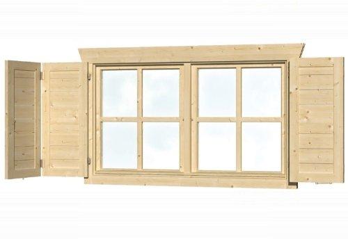 Skan Holz Fensterläden für Doppelfenster Gartenhäuser - Zubehör, Natur, 2,5x57,5x70,5 cm