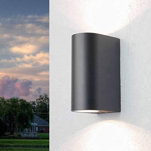 Wandleuchte außen rund anthrazit Up Down Strahler IP44 GU10 Wandlampe für Hauswand Hof Garten Beleuchtung