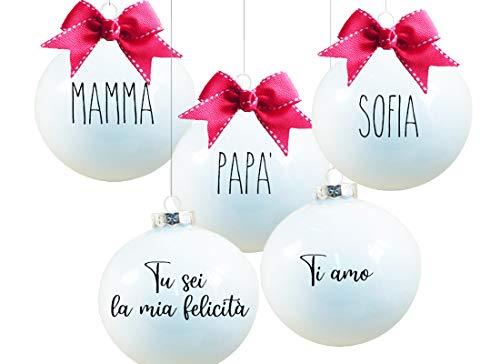 IPT Palline per Albero di Natale Personalizzabili 6 pz - Bianco Latte, 10 cm N16048 Regalo Gadget Logo