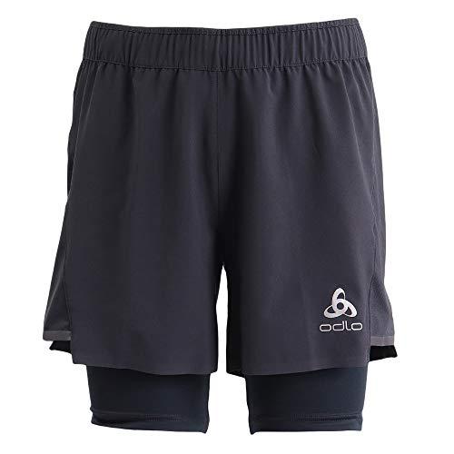 Odlo Herren Zeroweight Ceramicool Pro 2-in-1 Shorts, Black-Black, L