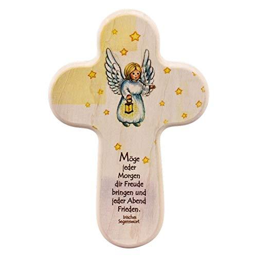 Houten kruis engel met lantaarn