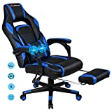 POWERSTONE Gaming Chair Racing Office Chair Ergonomic Computer Chair High Back Massage Recliner with Lumbar Support Headrest Armrest Footrest PU Leather Adjustable Rolling Swivel Dask Chair, Navy Blue