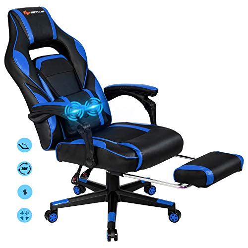 POWERSTONE Massage Gaming Chair - High Back Ergonomic Esports Office Computer Chair Recliner with Footrest Lumbar Support Headrest Armrest PU Leather Adjustable Rolling Swivel Desk Chair, Navy Blue