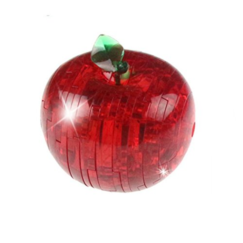 Kanzd Apple Crystal Blocks 3D Crystal Puzzle Cute Fruit Model DIY Gadget Blocks Building Toy Gift (B)
