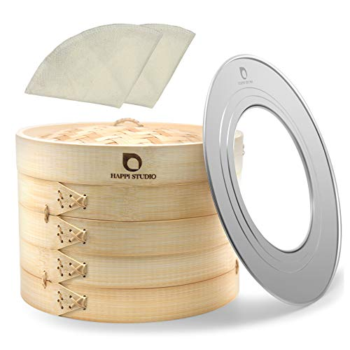 HAPPi STUDIO Bamboo Steamer Basket 10 inch and 304 Stainless Steel Steamer Ring Set - 100% Natural Handmade 2-Tier Dumpling Steamer for Cooking Dim sum, Bao Bun - Cotton Liners Included - Extra Deep
