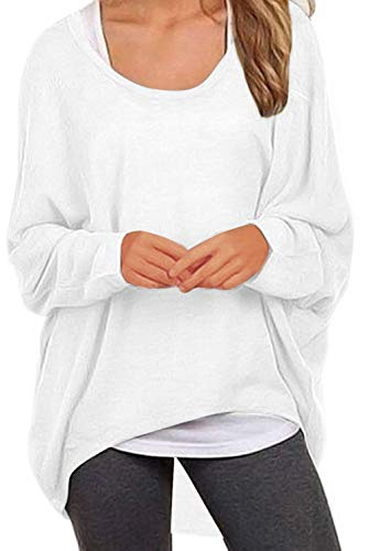 UGET Women's Sweater Casual Oversized Baggy Off-Shoulder Shirts Batwing Sleeve Pullover Shirts Tops Asia S White