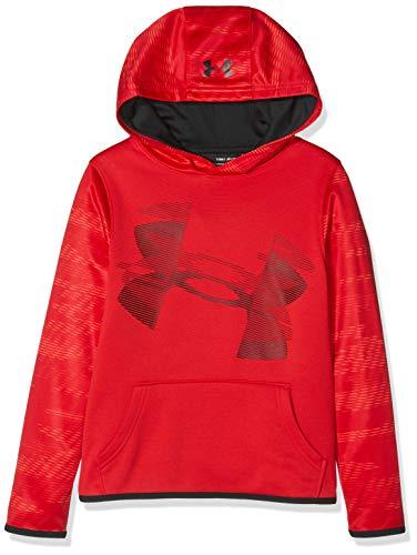 Under Armour - Sudadera con capucha y forro polar para niño, Niños, 1318229-600, rojo/negro, Para jóvenes XL
