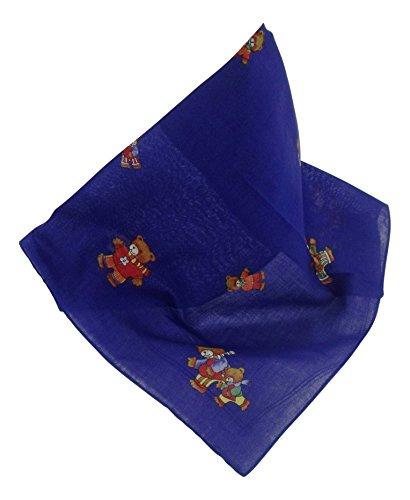 Karl Teichmann Blaues Nickituch mit Bärenmotiv | Kinder-Bandana aus 100% Baumwolle | 44 x 44 cm | Kinder-Halstuch