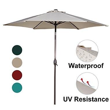 Abba Patio Outdoor Patio Umbrella 9-Feet Aluminum Market Table Umbrella with Push Button Tilt and Crank, Beige