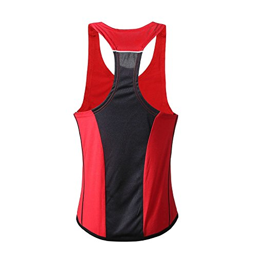 WEIMEITE Männer Tank Top Fitness Bodybuilding Ärmelloses Hemd Lässig Singlet Weste Unterhemd Rot + Schwarz L
