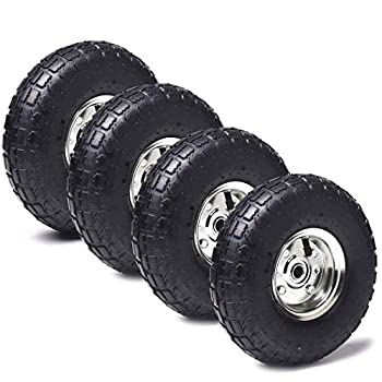 4 Pack  AR-PRO 10  Heavy-Duty Replacement Tire and Wheel - 4.10/3.50-4  with 10  Inner Tube 5/8  Axle Bore Hole 1 3/4  Offset Hub and Double Sealed Bearings for Hand Trucks and Gorilla Cart