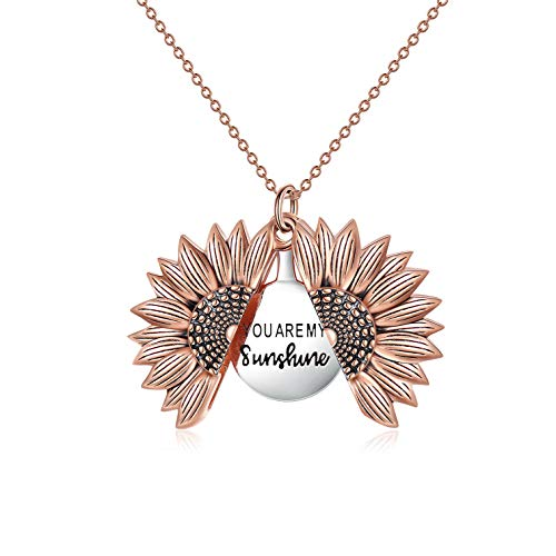 Sterling Silver Sunflower Locket Necklace You Are My Sunshine Engraved Pendant Necklaces Jewelry Gift for Her (Rose Gold)