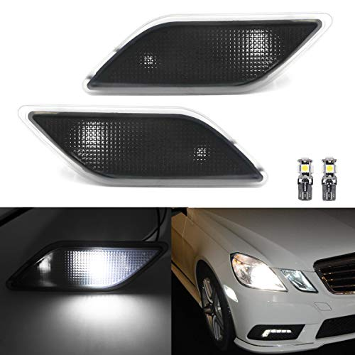 Xenon White Led Side Marker Lights for 2010-13 Mercedes Benz W212 Pre-LCI E-Class Smoked Lens Front Fender Marker Lamps with T10 Bulbs OEM fit