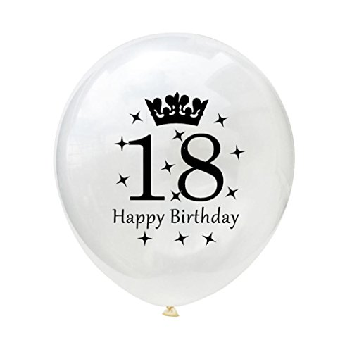 10PCS/Set White Balloons 12'' Latex Balloons 18th 21th 30th 40th 50th 60th Wedding Anniversary Party Baby Shower Birthday Decoration Gessppo (18TH)