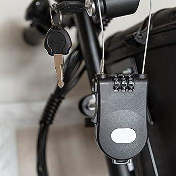 Warmdeco Serrure à cha?ne de vélo Mini Fil rétractable Antivol Code de sécurité à 3 Chiffres Serrure de Cable pour Porte Ordinateur Portable Valise Noir